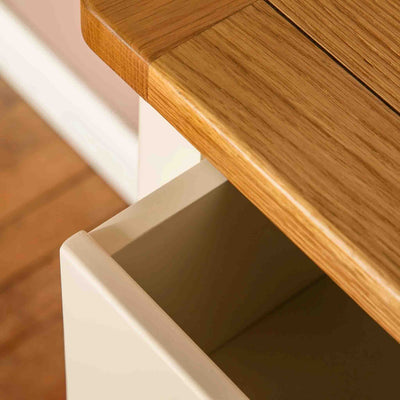 Open drawer view of  The Padstow Cream Wooden Chest of Drawers