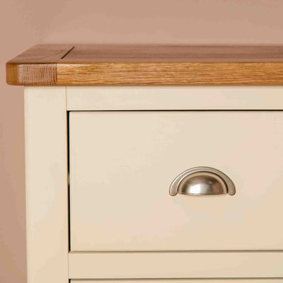 Close up Oak Top on  The Padstow Cream Wooden Chest of Drawers