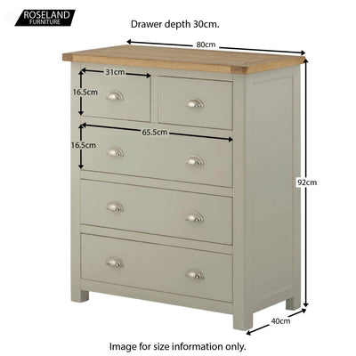 Padstow Grey  2 Over 3 Chest of Drawers - Size Guide