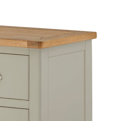 The Padstow Grey 2 Over 3 Chest of Drawers - Close Up of Oak Top