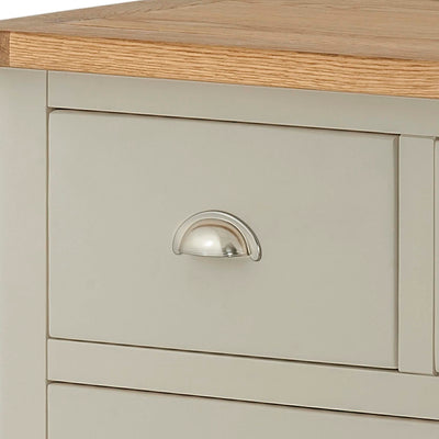 The Padstow Grey 2 Over 3 Chest of Drawers - Close Up of Smaller Drawer