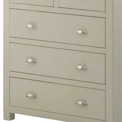 The Padstow Grey 2 Over 3 Chest of Drawers - Close Up of Larger Lower Drawers
