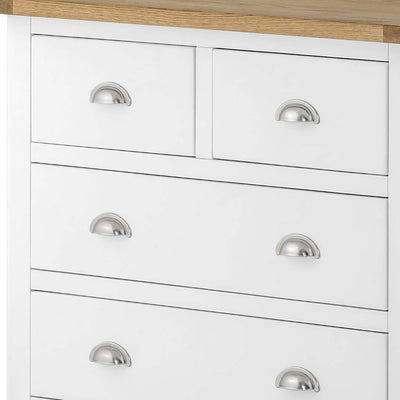 The Padstow White 2 Over 3 Chest of Drawers - Close Up of Smaller Drawers