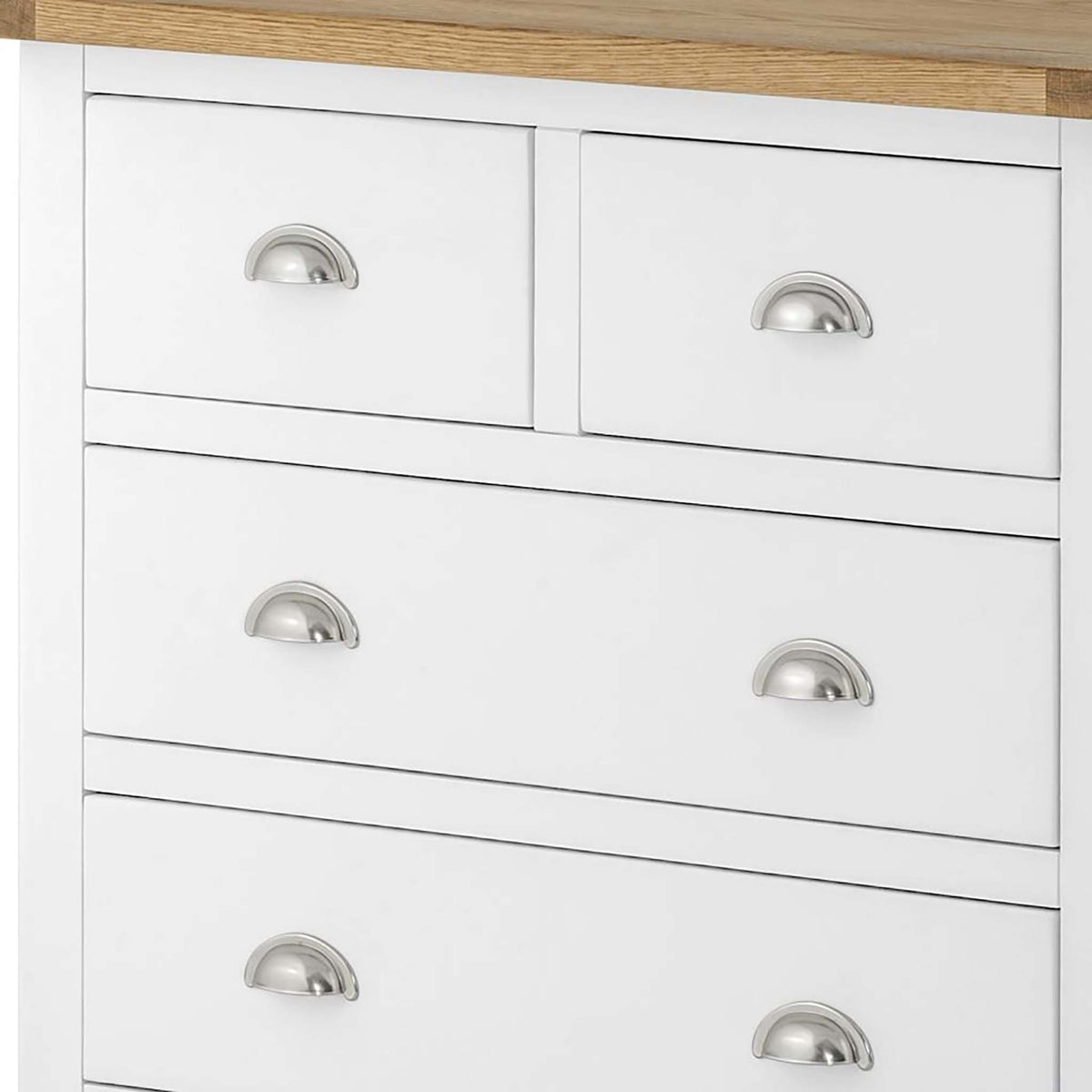 The Padstow White Chest of Drawers 2 over 4 - Close Up of Smaller Drawers