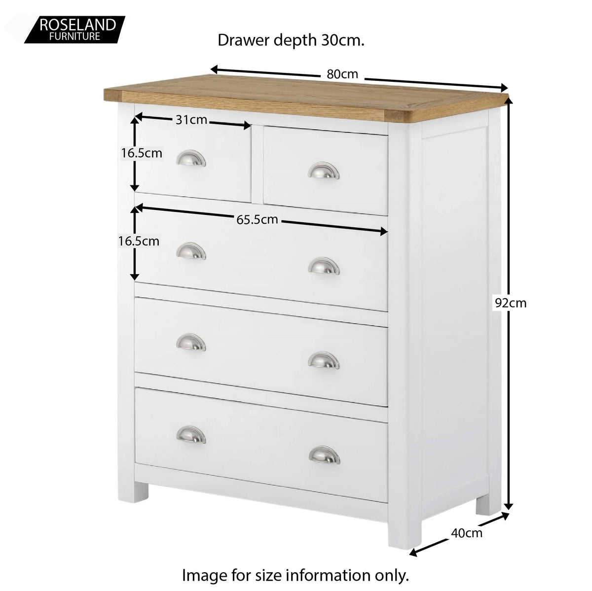 Padstow White 2 Over 3 Chest of Drawers - Size Guide