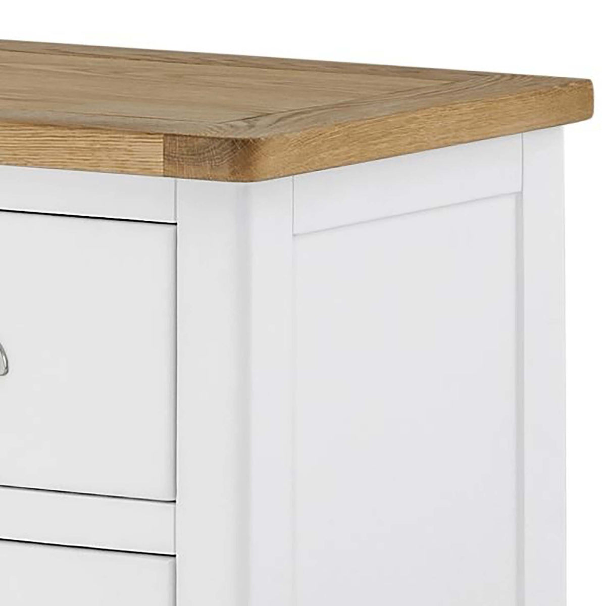 The Padstow White 2 Over 3 Chest of Drawers - Close Up of Oak Top