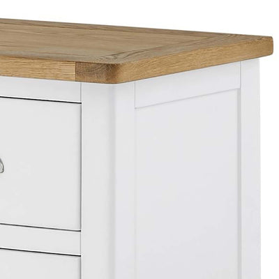 The Padstow White Chest of Drawers 2 over 4 - Close Up of Oak Top