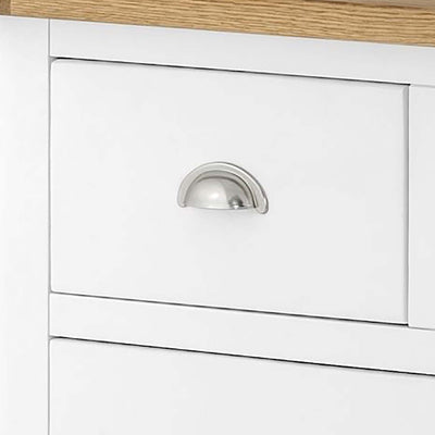 The Padstow White 2 Over 3 Chest of Drawers - Close Up of Smaller Drawer Front