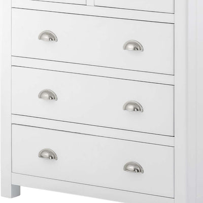 The Padstow White 2 Over 3 Chest of Drawers - Close Up of Larger Bottom Drawers