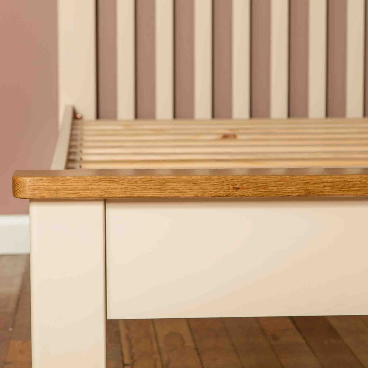 Foot end view of The Padstow Cream 3 ft Wooden Single Bed Frame