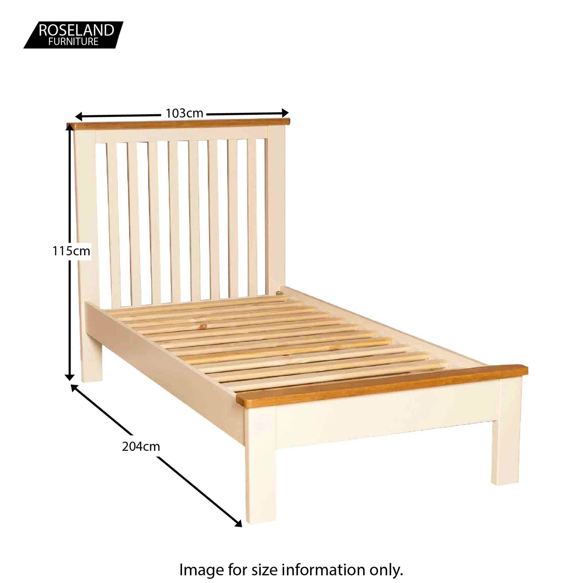 Padstow Cream 3' Single Bed Frame - Size Guide