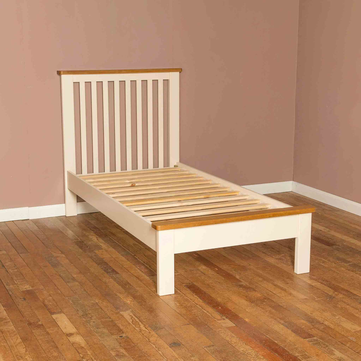 Side view of The Padstow Cream 3 ft Wooden Kids Single Bed Frame