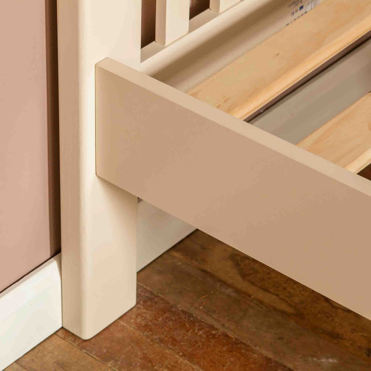 Close up of side panel on The Padstow Cream 3 ft Wooden Single Bed Frame