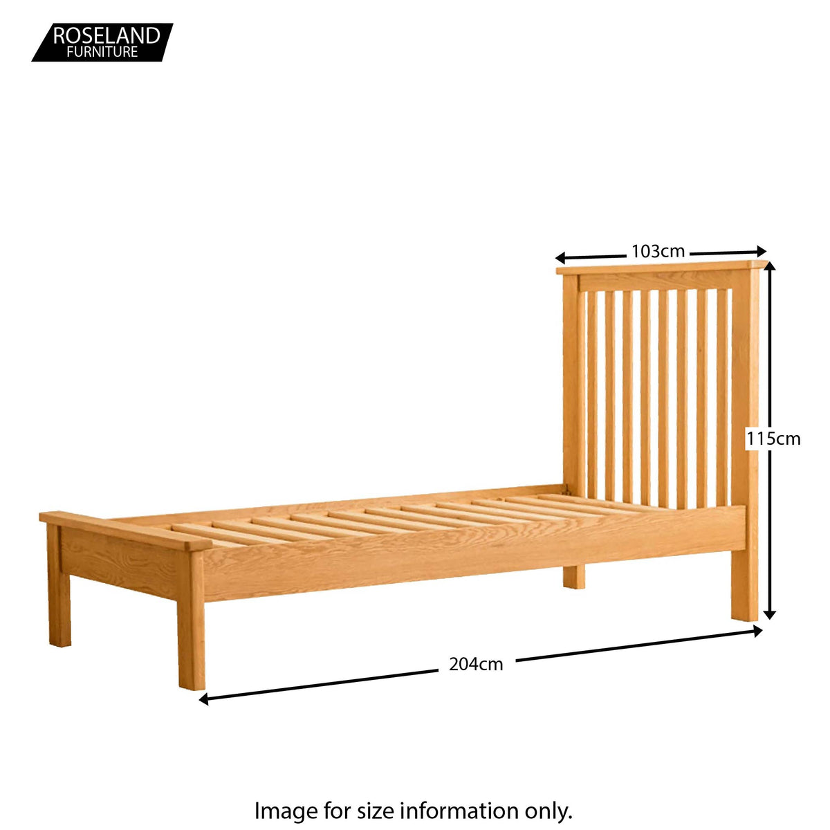 Roseland Oak 3ft Bed - Size Guide