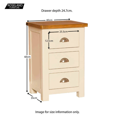 Padstow Cream Bedside Drawers - Size Guide