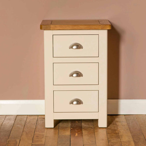 The Padstow Cream Wooden Bedside Table with 3 Drawers from Roseland Furniture
