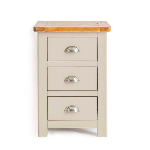 The Padstow Grey 3 Drawer Wooden Bedside Table from Roseland Furniture