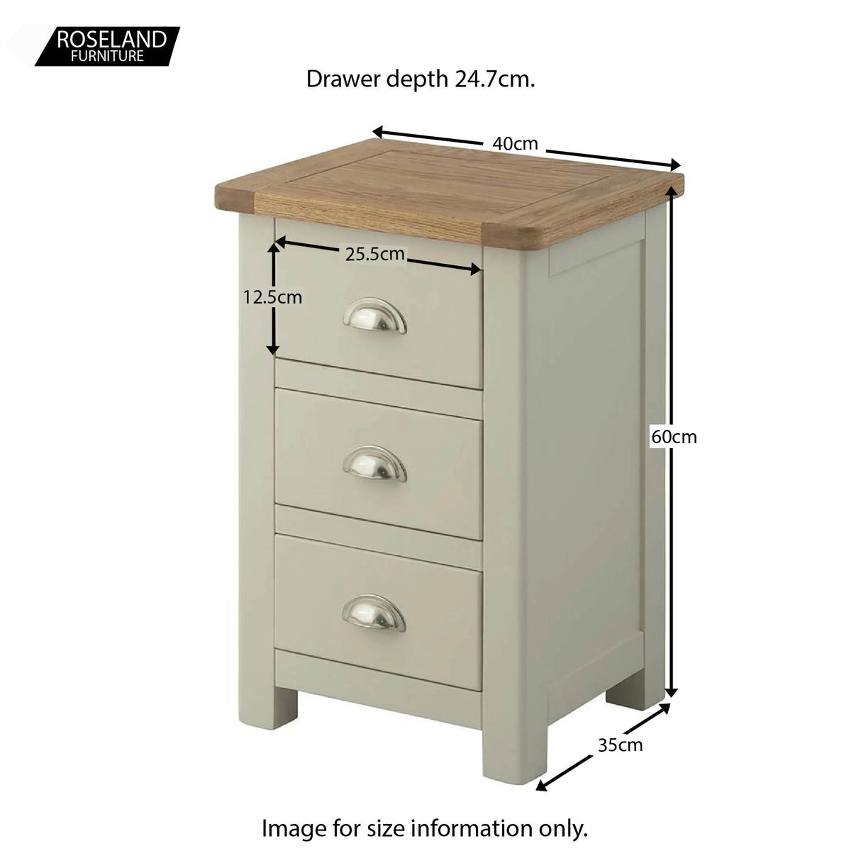 Padstow Grey 3 Drawer Bedside Table - Size Guide