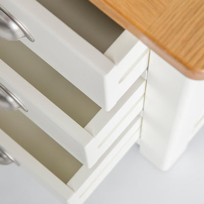 open drawer view of The Padstow White Wooden Bedside Table with 3 Drawers
