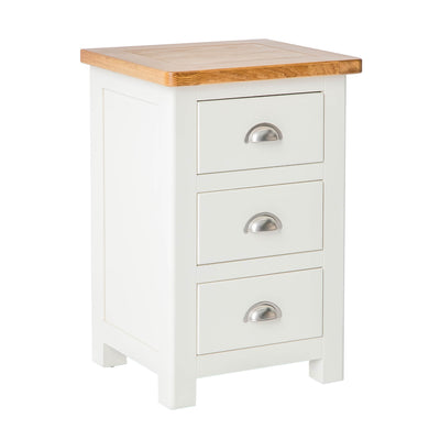 The Padstow White Wooden Bedside Table with 3 Drawers from Roseland Furniture