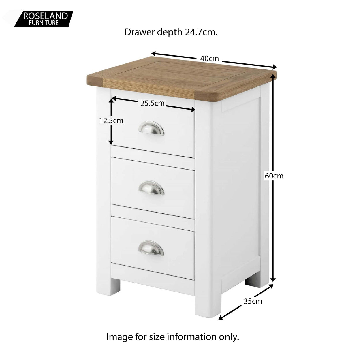 Padstow White Bedside Table - Size Guide