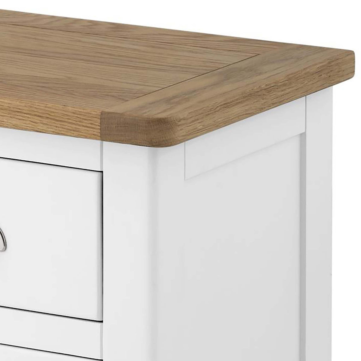 The Padstow White Tallboy - Close Up of Oak Top