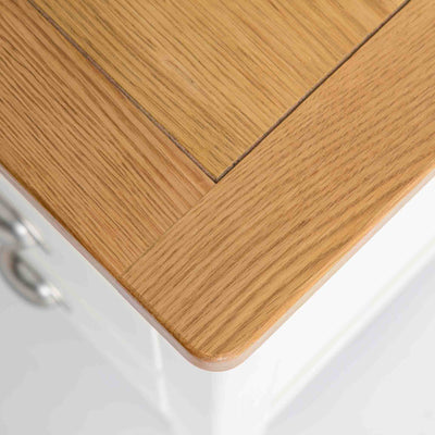 top view of oak corner on The Padstow White Wooden Bedside Table with 3 Drawer