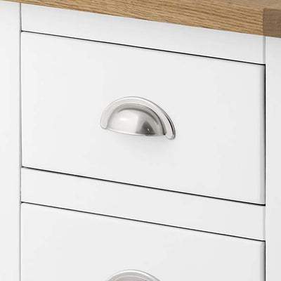 The Padstow White Tallboy - Close Up of Drawer Front and Handle