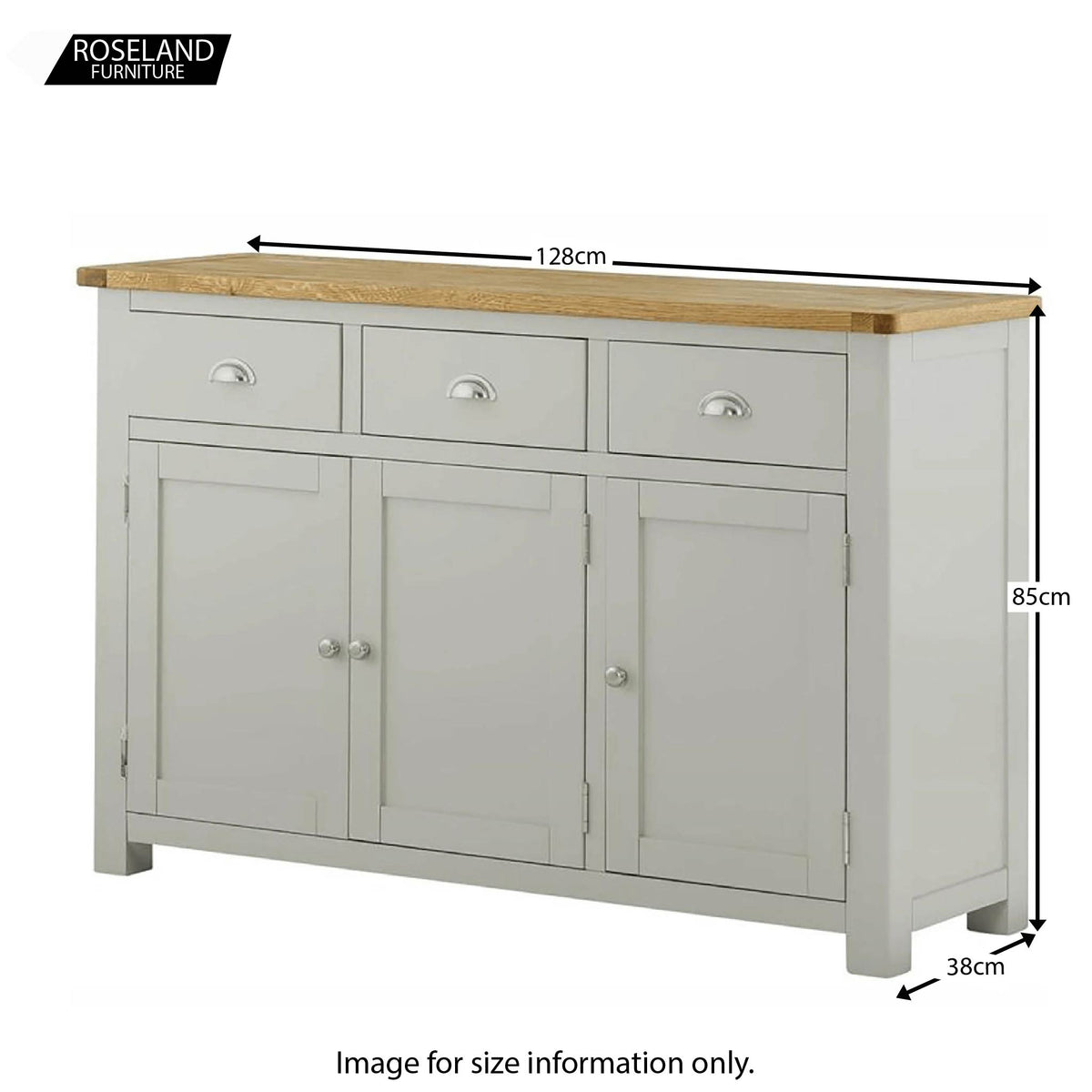 Padstow Grey 3 Door Sideboard - Size Guide of Overall Size