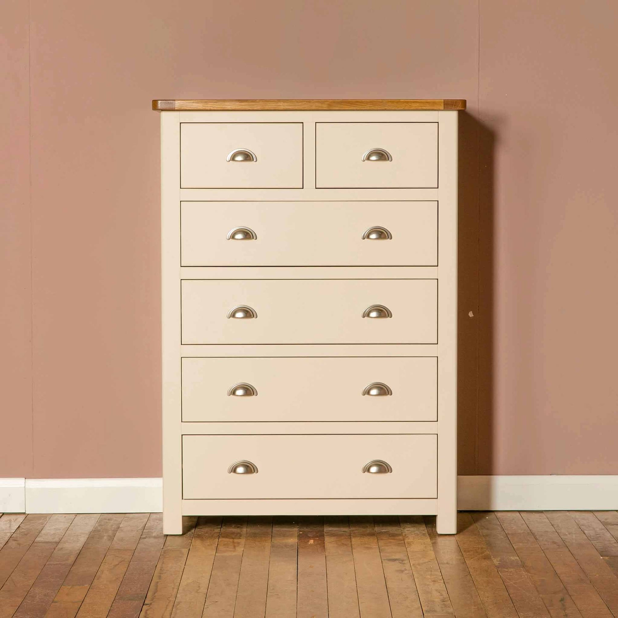 The Padstow Cream Large Wooden Chest of Drawers with Oak Top from Roseland Furniture