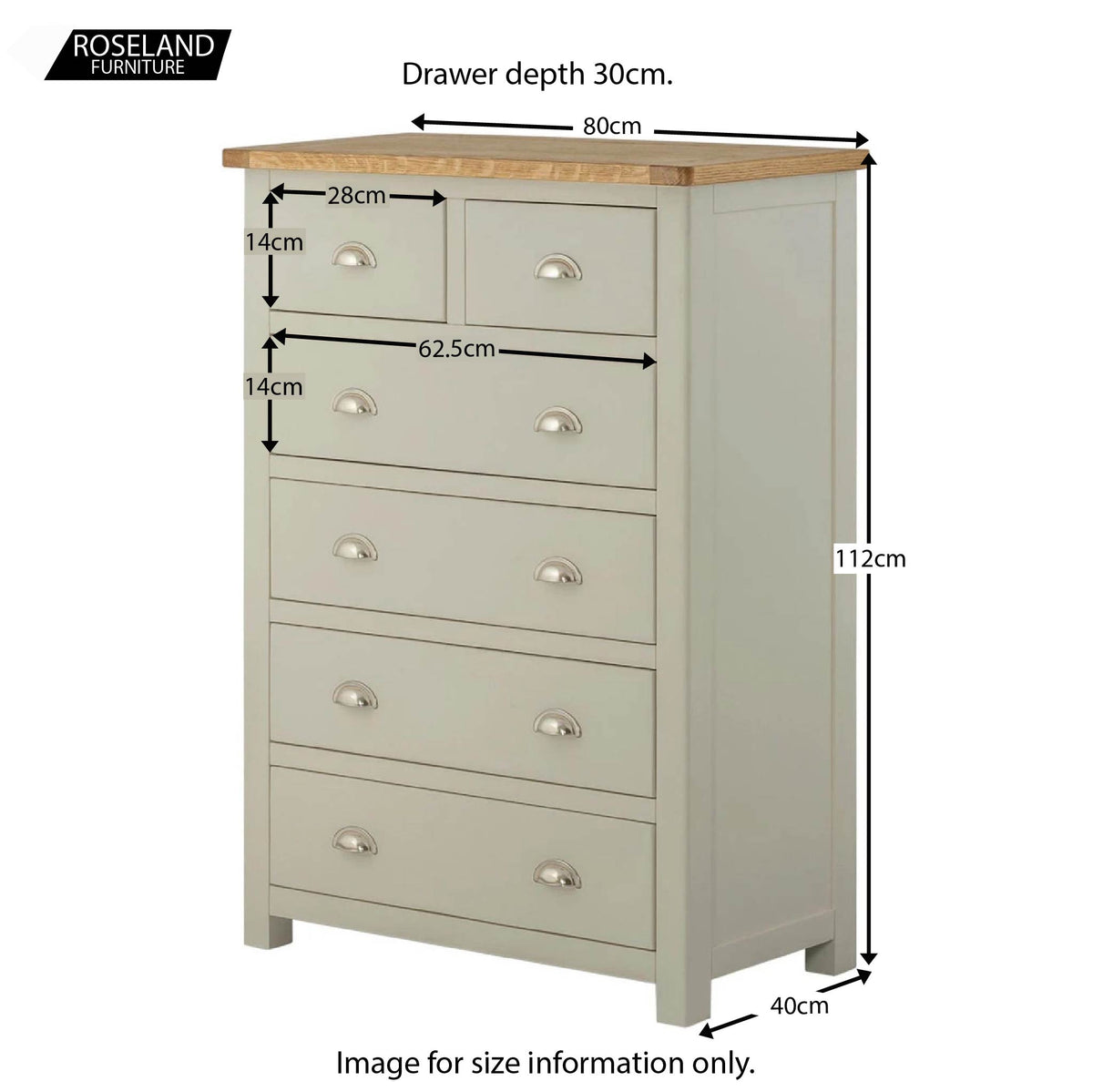 Padstow Grey 2 Over 4 Chest of  Drawers - Size Guide