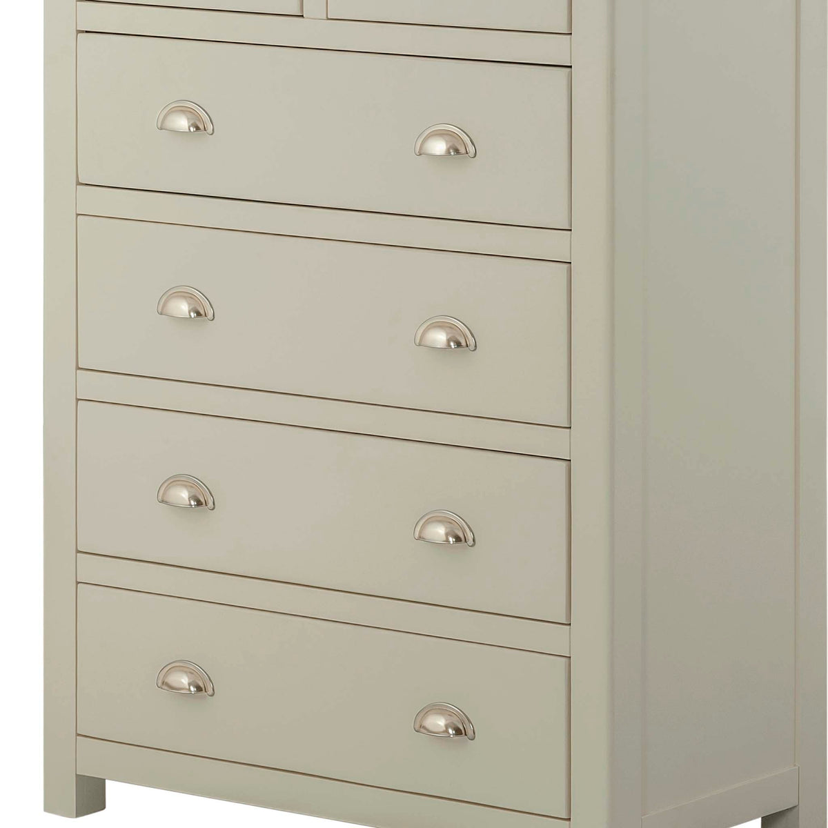 The Padstow Grey 2 Over 4 Chest of Drawers - Close Up of Larger Drawers