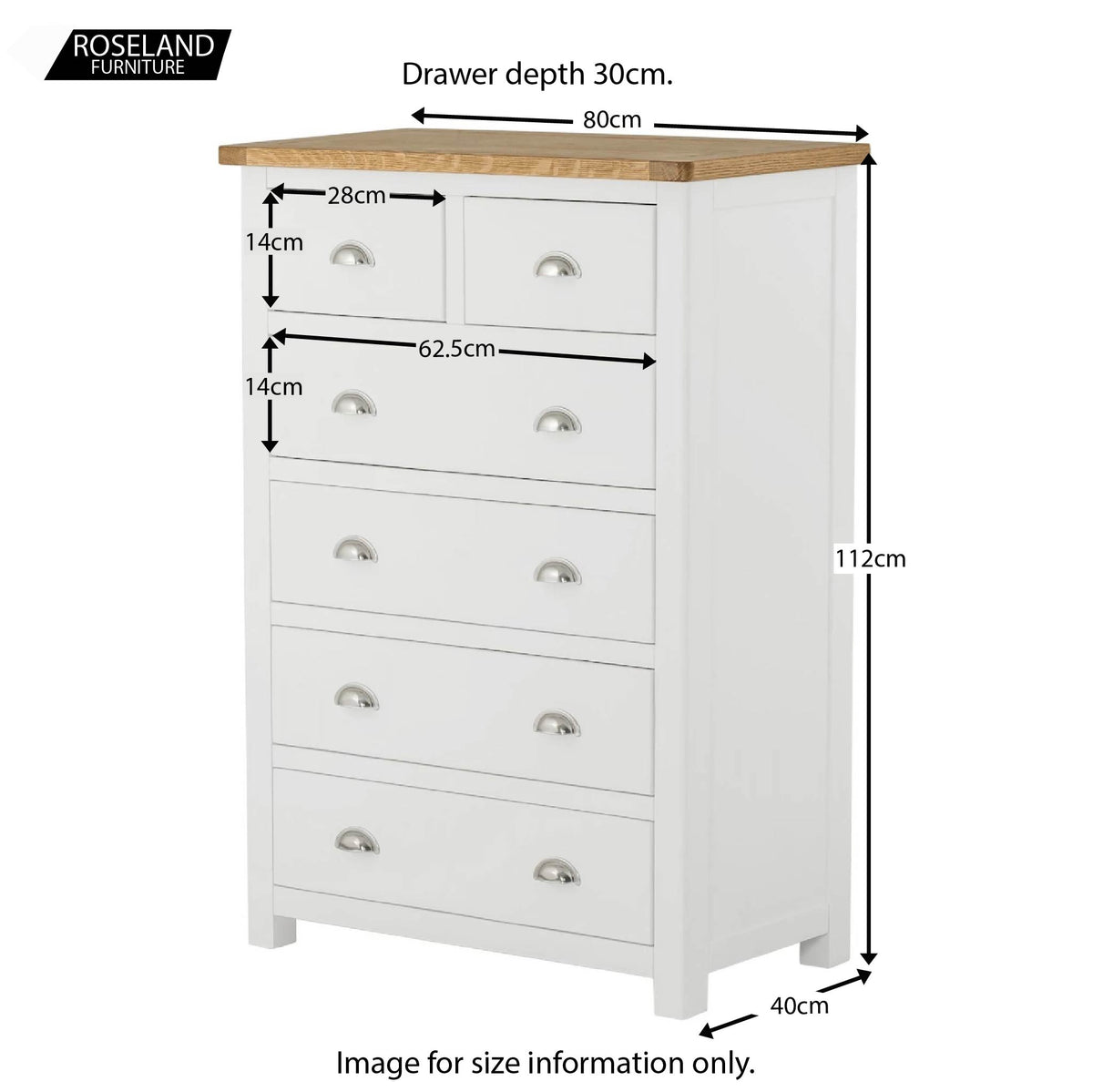 Padstow White 2 Over 4 Chest of Drawers - Size Guide
