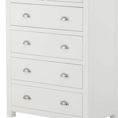 The Padstow White Chest of Drawers 2 over 4 - Close Up of Larger Drawer Fronts