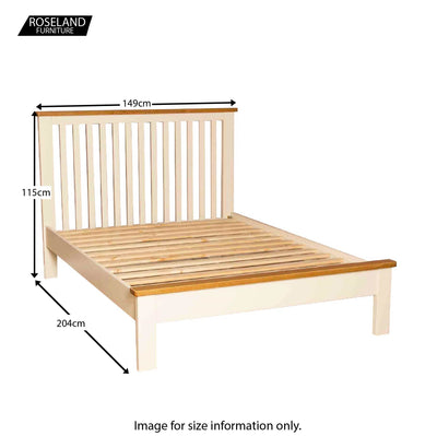 "Padstow Cream 4'6"" Double Bed Frame - Size Guide"