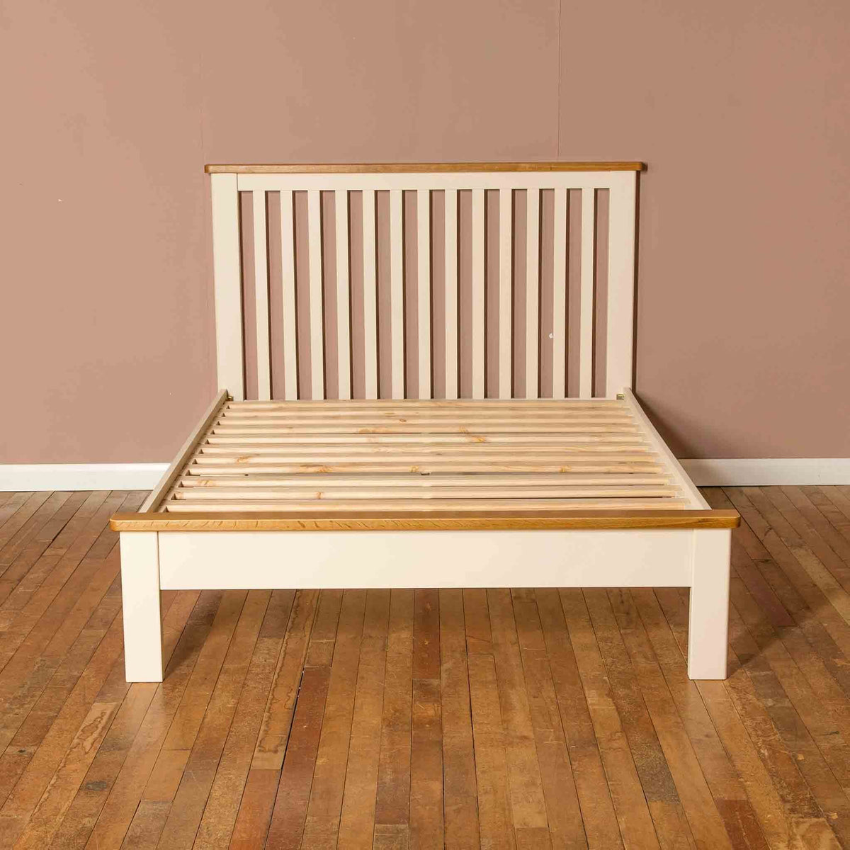 The Padstow Cream 4 ft 6 Wooden Double Bed Frame with Oak from Roseland Furniture