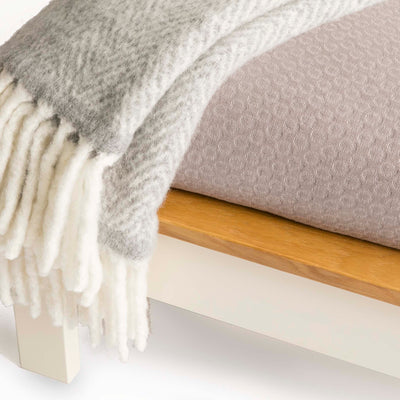 Close up of headboard on The Padstow Cream 4 ft 6 Wooden Double Bed Frame