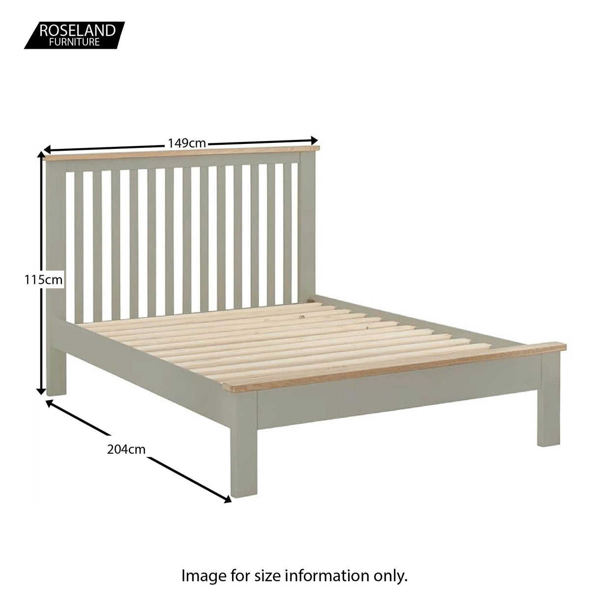 "Padstow Grey 4'6"" Double Bed Frame - Size Guide"