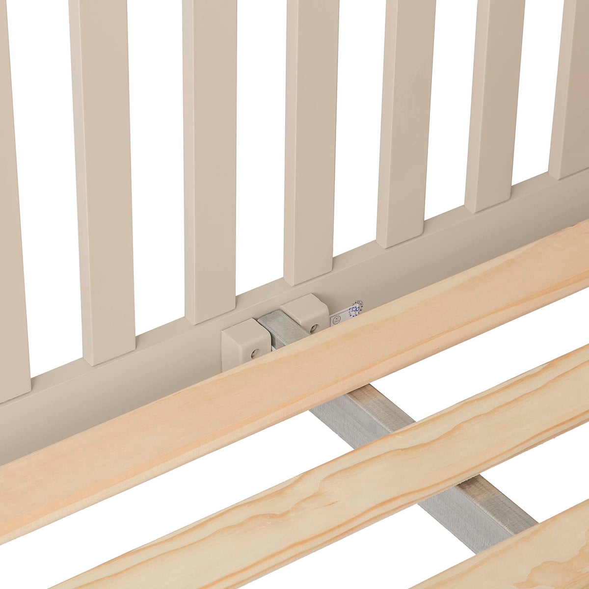 Padstow Stone Grey Double Bed Frame - Close up of centre bracket and slats of base of Bedframe