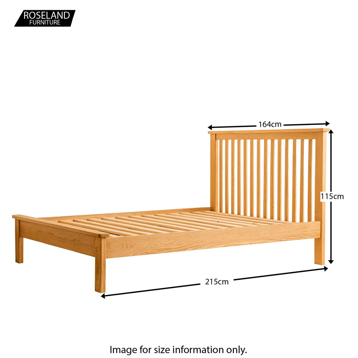 Roseland Oak 5ft Bed - Size Guide