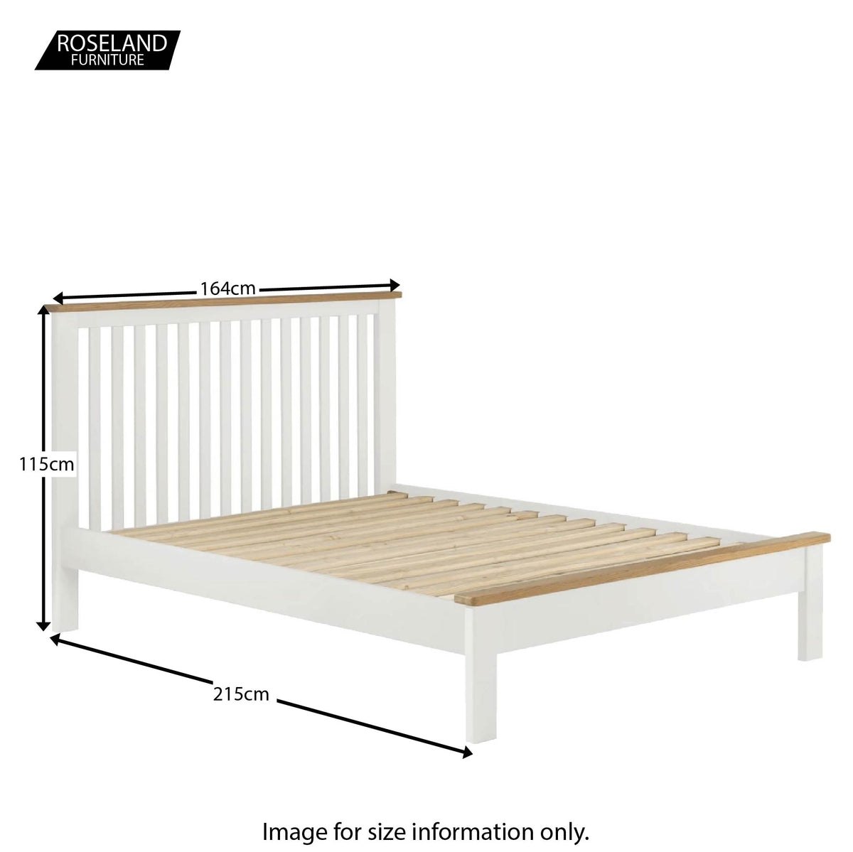 Padstow White 5' Bed Frame - Size Guide