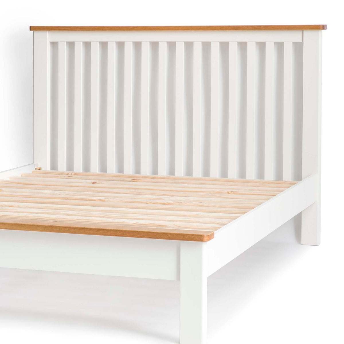 The Padstow White 5' King Size Bed Frame - Close Up of Bed Footer