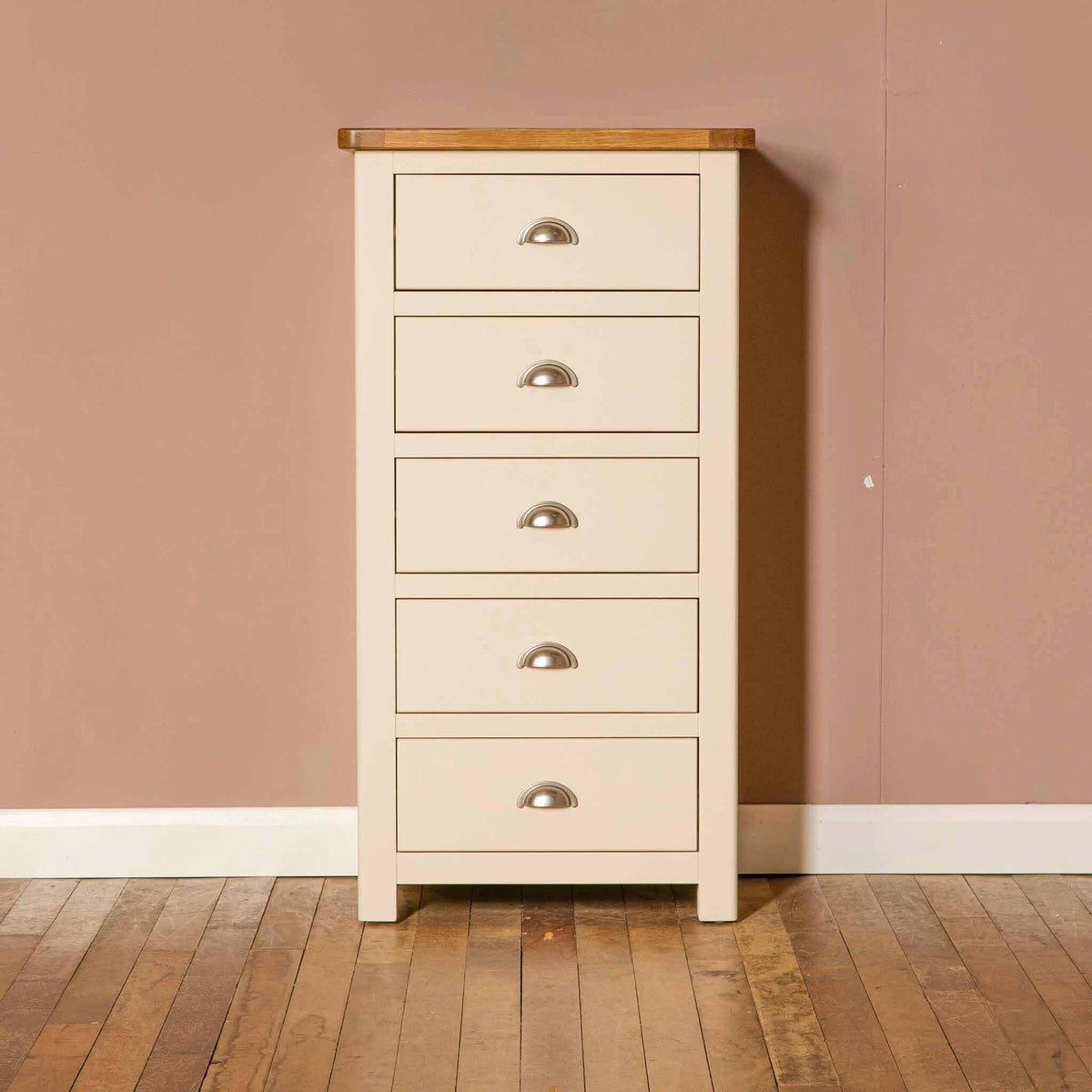 The Padstow Cream Wooden Tallboy Chest of Drawers with Oak Top from Roseland Furniture