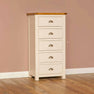 The Padstow Cream Wooden Tall Narrow Wellington Chest from Roseland Furniture