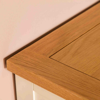 Close up of tabletop surface for The Padstow Cream Wooden Tallboy Chest of Drawers