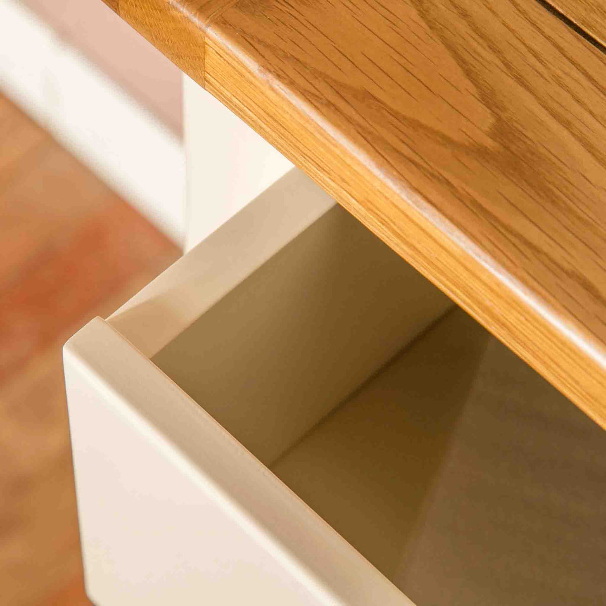 Open drawer view on The Padstow Cream Wooden Tallboy Chest of Drawers