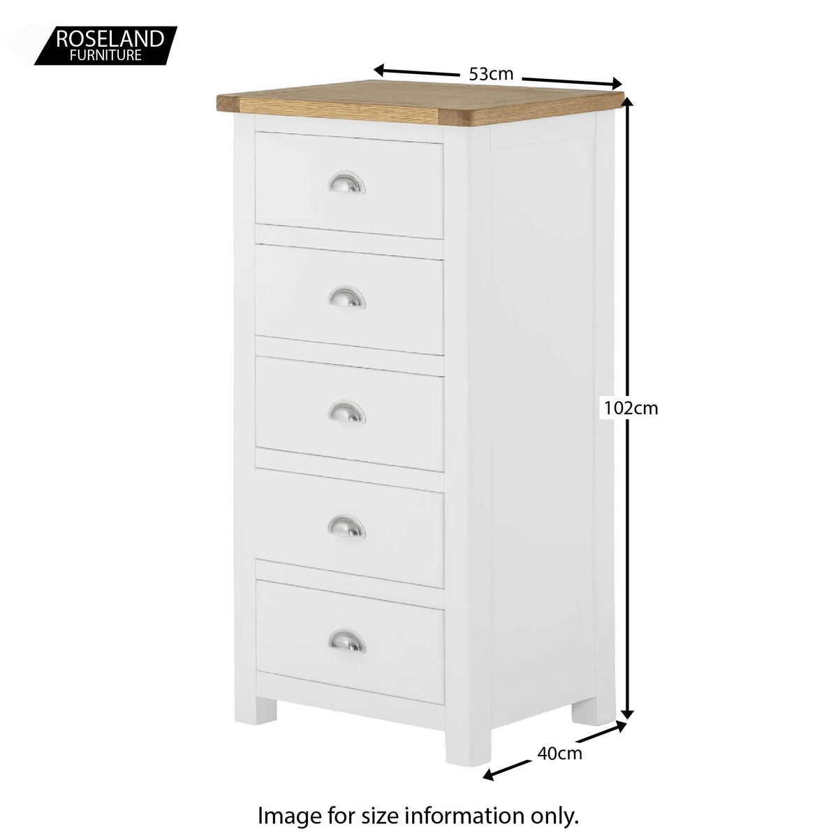 Padstow White Tallboy Chest of Drawers - Size Guide