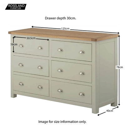 Padstow Grey Large 6 Drawer Chest of Drawers - Size Guide
