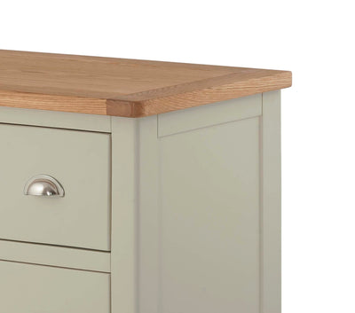 The Padstow Grey Large Six Drawer Chest of Drawers - Close Up of Oak Top
