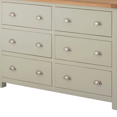 The Padstow Grey Large Six Drawer Chest of Drawers - Close Up of Drawer Fronts